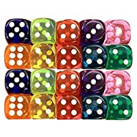 YOGINGO Colorful Acrylic Transparent Dice,6 sided red blue green yellow purple Dice for Drinking Board Game