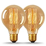 LOHAS 40W Straight Filaments Style Tungsten Bulbs, Vintage G80 Retro old fashioned (Edison Style) E27 Screw Bulbs, 2700K, Decorative Light Bulbs, Dimmable, Pack of 2 units