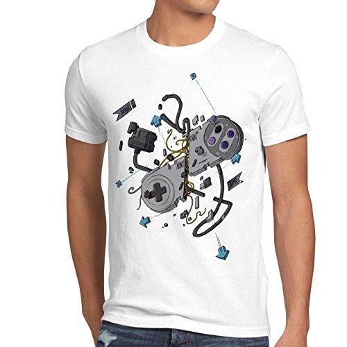 style3 16-Bit Controller T-Shirt Herren snes nes kart yoshi luigi mario, Größe:M;Farbe:Weiß (Wii U Super Mario Kart)