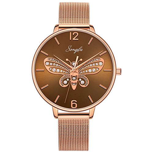 SONGDU Damen Quarz Armbanduhr Edelstahl Maschen armband, Klassische Mode Analog Mädchen uhren (Rosé gold - Braun)
