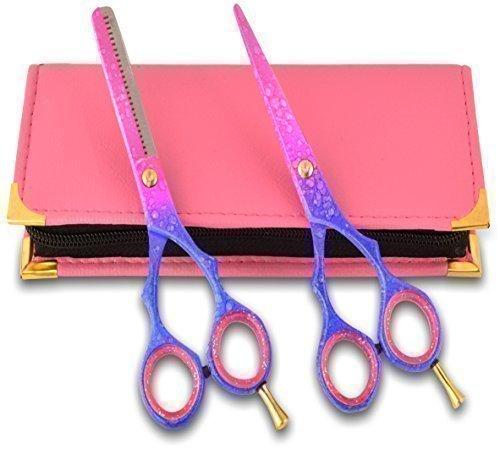 Pinksnow Geschenkset Friseur haarschere & Dünner werdendes haar-schere Friseurschere Jap Stahl 5.5