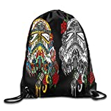 yiyuanyuantu GGFUIS9 3D Print Sugar Skull 23 Shoulders Bag Women Fashion Backpack Girls Beam Port Drawstring Travel Shoes Dust Storage Bags