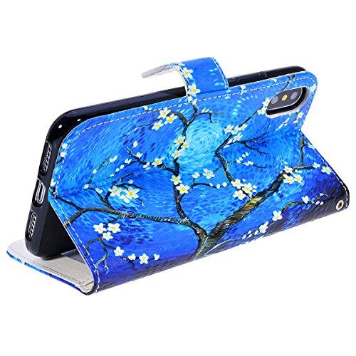WE LOVE CASE Coque iPhone X, Étui a Rabat de Protection Housse Coque iPhone X Cuir, Coque avec Rabat Anti Choc Motif Fleur Girly Fonction Support Stand Fente Carte et Magnétique Fermeture Stitch Flip  bleu