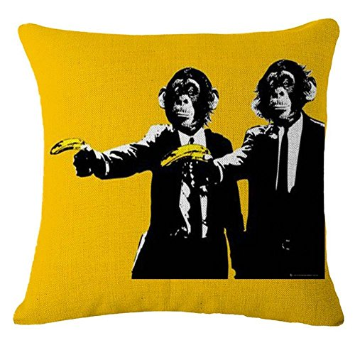 Dixinla Kissenbezug Baumwolle Bettwäsche 2 Stück Kissen Beschützer Drucken Bananen und Affen 3D-Bilder, 45x45cm
