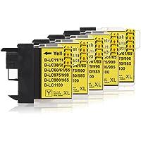 5 Cartucce Per Stampanti compatibile con Brother LC-1100 (Giallo)