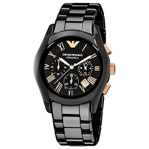 Emporio Armani Men's AR1410 Ceramic Black Chronograph Dial Watch  available at amazon for Rs.9970