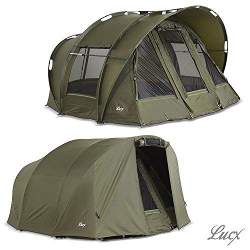 Lucx® Leopard Bivvy + Winterskin 1-2 - 3 Mann Angelzelt + Überwurf Karpfenzelt + Overwrap Zelt 10.000mm Wassersäule Campingzelt