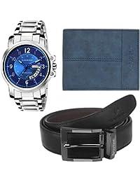 Laurels Analogue Display Blue Dial Day & Date Function Men's Watch, Blue Suade Wallet & Black-Brown Reversible Belt