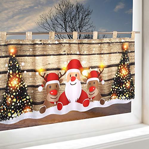 Delindo Lifestyle Rideau Brise Bise à Led Christmas Team Pour Cuisine Et Chambre D Enfant Rideau Bistrot Illuminé 45x120 Cm Rideau Moderne Et