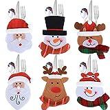 Yompz Weihnachten Besteckhalter Bestecktasche Besteckbeutel Geschirrhalter Tischdeko Weihnachtsmann Schneeman Elch Design für Party Weihnachten Restaurant (6 Stück)