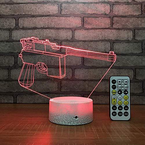 DMXY Pistole Led 3D Tisch Schreibtischlampe Usb 7 Farben Ändern Nachtlicht Kinder Schlaf Beleuchtung Geschenk Wohnkultur Weiße Basis Mit Controller,Without remote control