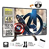 Display4top 100 inch 16:9 HD Foldable Projector Screen,Anti-Crease Portable Front & Rear Projection Movies Screen for Home Theater Outdoor Indoor Classroom Training