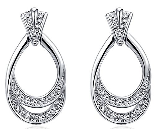SaySure - Jewelry Platinum double leaf luxury Austrian crystal (4 Double Wall Tip)