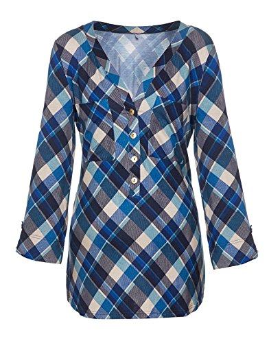 Be! Mama Umstandsshirt, Stillshirt, Modell: KAIRA Blau Kariert