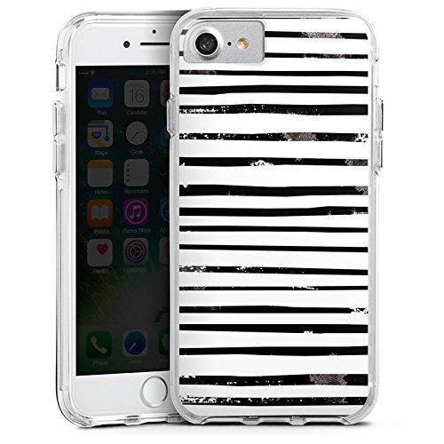 Apple iPhone 6s Bumper Hülle Bumper Case Glitzer Hülle Streifen Stripes Schwarz Weiss Bumper Case transparent
