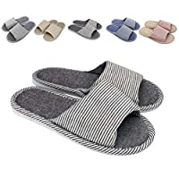 zisheng Women's and Men's Washable Cotton Flax Casual Open Toe Slippers Soft Light Comfortable and Breathable House Slippers Anti-Slip for Indoor and Outdoor(280mm,Coffee)