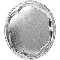Bandeja de servir con efecto de pulido de plata, Plain Embossed, Round Etched Flower