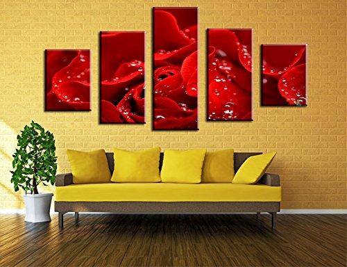 Wowdecor Bilder 5 Teilig Leinwand Malerei Drucke - Regentropfen Rot Rose Blumen Giclee Home Wohnzimmer Schlafzimmer Modern Wand Bild Deko, Poster Geschenk gedruckt - Ungerahmt (groß) -