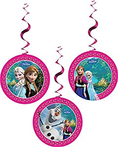 Unique Party Partido Ênico 2 pies Disney congelado Hanging Remolino Decoraciones del Partido (Pack de 3)