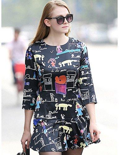 PU&PU Robe Aux femmes Gaine Simple / Street Chic,Imprimé Col Arrondi Au dessus du genou Coton BLACK-3XL
