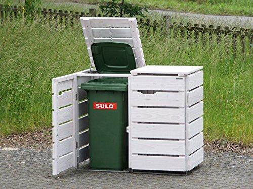 2er Mülltonnenbox / Mülltonnenverkleidung 120 L Holz, Transparent Geölt Weiß