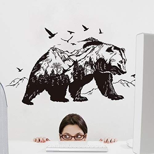 Mural ZOZOSO Etiqueta Engomada Desprendible De La Pared De La Sala De Estar De La Decoración Del Oso Negro De La Montaña