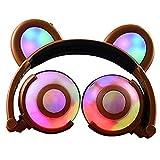 Auriculares Glowing Bear Ear Earphones Led Ear Headphone Cat Earphone Flashing Glowing Headset Auriculares para Juegos para Adultos Y Niños Café