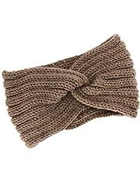 ca510ce0540f Dinglong Nœud Bandeau Hiver à Couleur Pure Laine Tricotée Tete Cheveux Femme  Crochet Hiver Chaud Noué