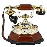 R&Y Retro Telefon Wählen im europäischen Stil Retro Telefon - Festnetztelefone Schnurgebundene Telefone Anrufer-ID Datumsanzeige