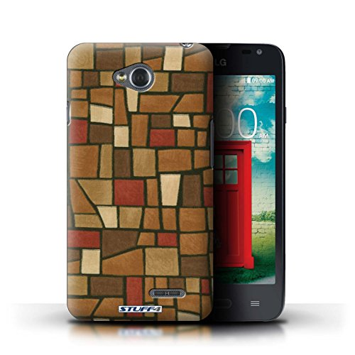 Kobalt® Imprimé Etui / Coque pour LG L65/D280 / Rouge/Bleu conception / Série Carrelage Mosaïque Brun/Rouge