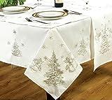 Servietten von Kitchenwise, weiß/silber, 46x 46cm, für  besondere Anlässe, für Weihnachtsfeier, Feste, mit gestickten Tannenbäumen, Glocken, Stechpalme, Schneeflocken, silber-graue Motive, 4 Stück