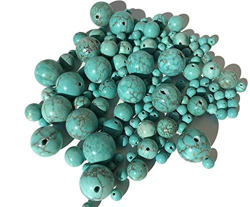 Crystal King, set di 135 perle turchesi miste in 3 misure (12 mm, 8 mm, 4 mm), pietre semipreziose per gioielli fai da te