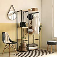 eSituro Large Clothes Rack Rail Stand,Heavy Duty Garment Rack Coat Stand Top Rod Metal Wooden with Shoes Shelves