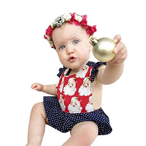 Neugeboren Mädchen Jungen cute santa muster Jumpsuits Klassisch Polka Punkt gedruckte Kurzarmshirt Kleinkind Overall Outfits Kleidung (100, Rot) (Mädchen Klamotten Shoppen)
