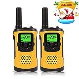 Fayogoo Walkie Talkie per Bambini, Raggio di 4 Miglia Radio Bidirezionale con Flash e Schermo LCD. 2 Confezioni. Giallo