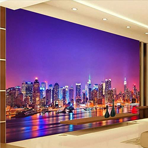 Preisvergleich Produktbild Yologg Benutzerdefinierte Schöne 3D Stereo Seaside City Nacht Landschaft Foto Tapete Restaurant Cafe Schlafzimmer Mode Interior Decor 3D Wandbild-250X175Cm