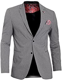 b9b9b03360f18 D R Fashion Mens Checkered Blazer Jacket Formal Blue Brown Paisley Finish  Cotton Regular Fit