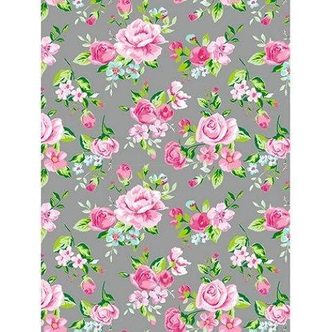 Foglio Decopatch n. 716, fiori rosa su sfondo grigio, Carta