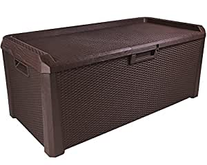 kissenbox santo rattan optik sitztruhe auflagenbox braun 560 liter xxl garten. Black Bedroom Furniture Sets. Home Design Ideas