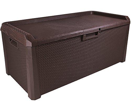 Kissenbox Santo Rattan Optik Sitztruhe Auflagenbox braun 560 Liter XXL