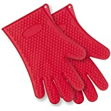 x-eplan silicona resistente al calor barbacoa guantes (rojo)