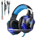 Mengshen Gaming-Headset - Mit Mikrofon, LautstäRkeregler Und Coolen LED-Leuchten - Kompatibel Mit PC, Laptop, Smartphone, PS4 Und Xbox One Controller, G2000 Blue