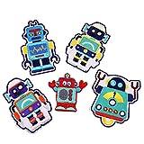 Viesky Aufnäher mit Stickerei, Motiv Roboter, selbstklebend, für Kinder, Jacke, Hut, Hose, Reparatur, 5 Stück