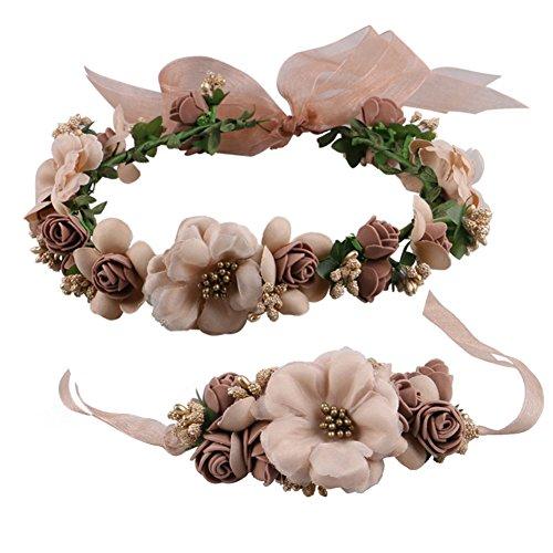 Kentop Blumenschmuck Blumengirlande Haare für Hochzeit Festival Armschmuck aus Tuch (Braun)