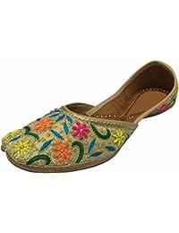 Step n Style Mujer Piel jooti Khussa mojari Zapatos, color multicolor, talla 40.5