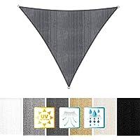 Lumaland toldo vela de sombra 100% polietileno de alta densidad filtro UV incl cuerdas nylon 3x3x3 gris obscuro