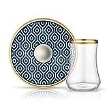Koleksiyon Teeglas und Unterteller aus Bone China Porzellan mit Blauer Verzierung Bienenwaben 165 ml 6er Set