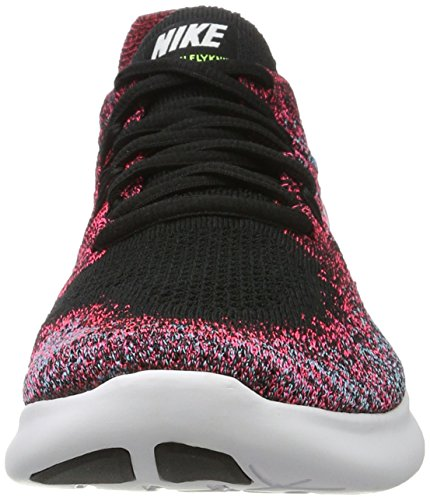 Nike Free Rn Flyknit 2017, Chaussures de Running Compétition Femme Multicolore (Black/white-racer Pink-gamma Blue-volt)