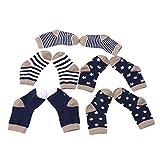 Chinget 5 Paar Baumwolle Socken Babysöckchen Kindersocken für 0-36 Monate Säugling Baby Jungen und Mädchen (Marine-Serie)