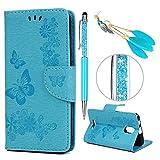 iAdvantec Wiko Jerry 3 Hülle Case, Filp PU Leder Wallet Handyhülle Flipcase : Bookstyle Großer Schmetterling Tasche Brieftasche Schutzhülle in Blau + Stöpsel + Stylus